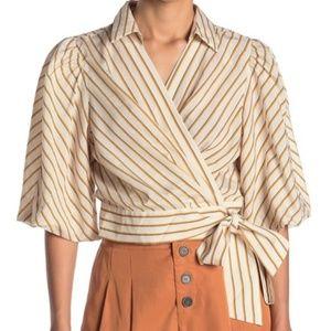 TOPSHOP Stripe Wrap Blouse